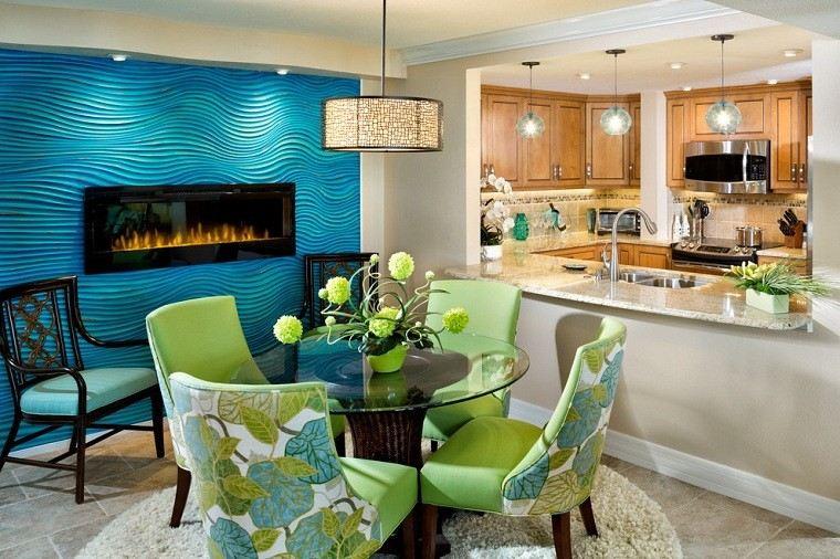 fresca pared comedor cocina azul