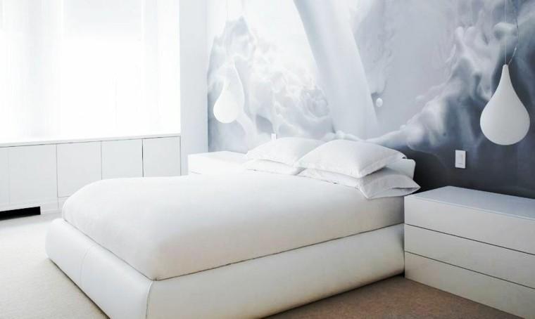 fresco bombillo cama gavetero blanco