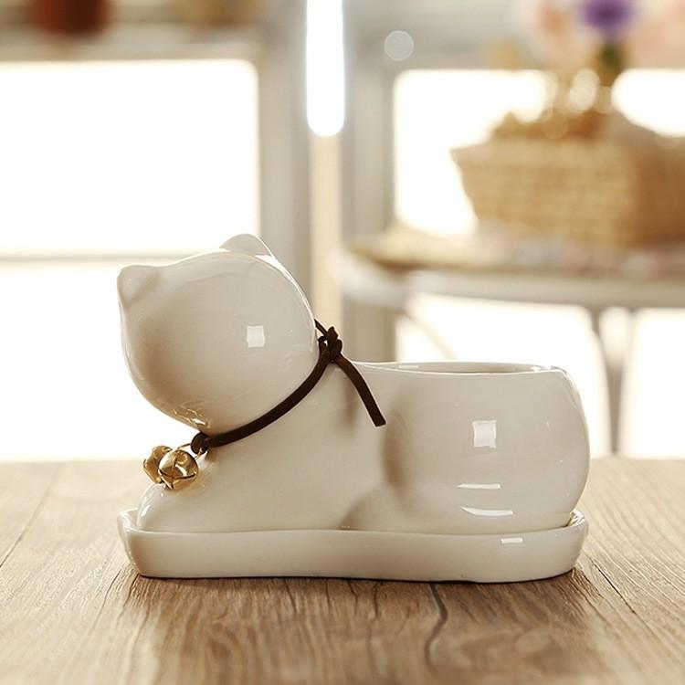 gatito blanco macetero deco porcelana