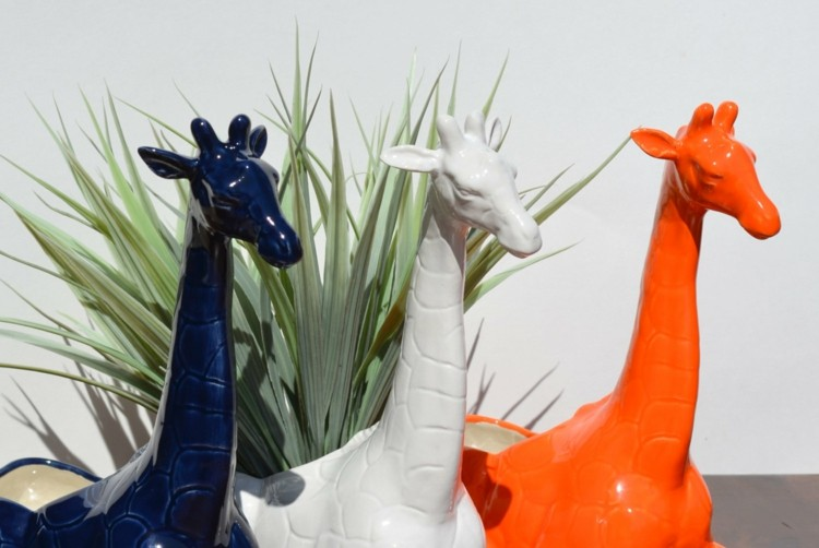 maceteros girafas colores tres macetas