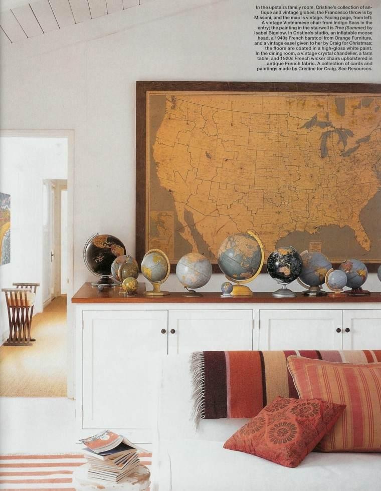 globos armarios blancos mapa pared salon vintage ideas
