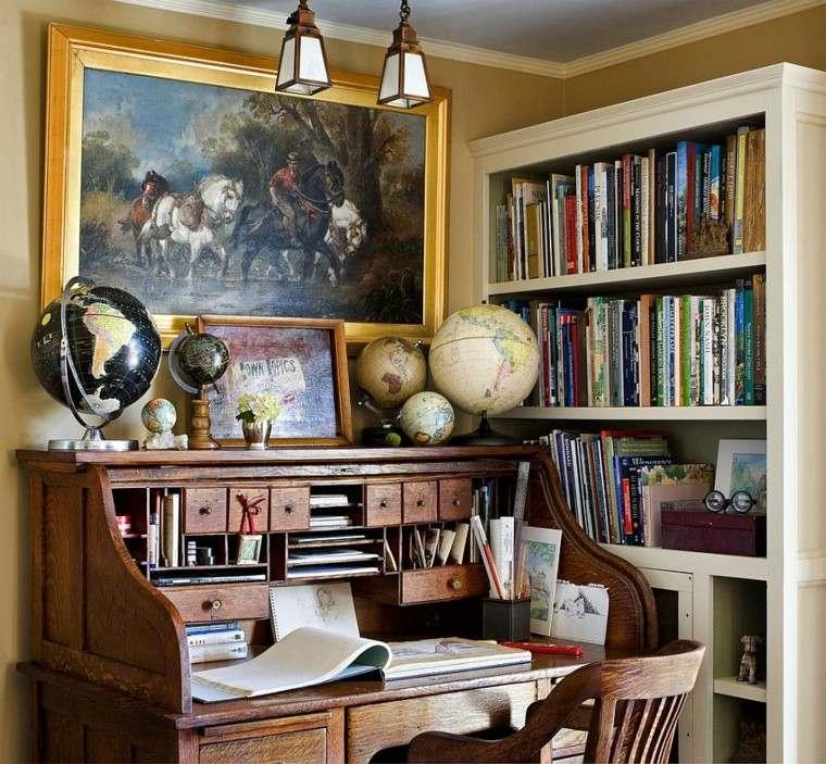 globos decorando escritorio madera estilo tradicional ideas
