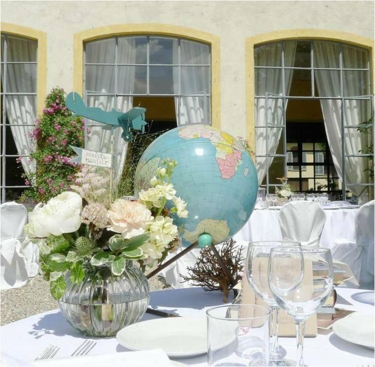globos mundo decorar mesa boda flores interesante ideas