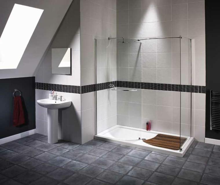 gris estilo ducha amplia toalla