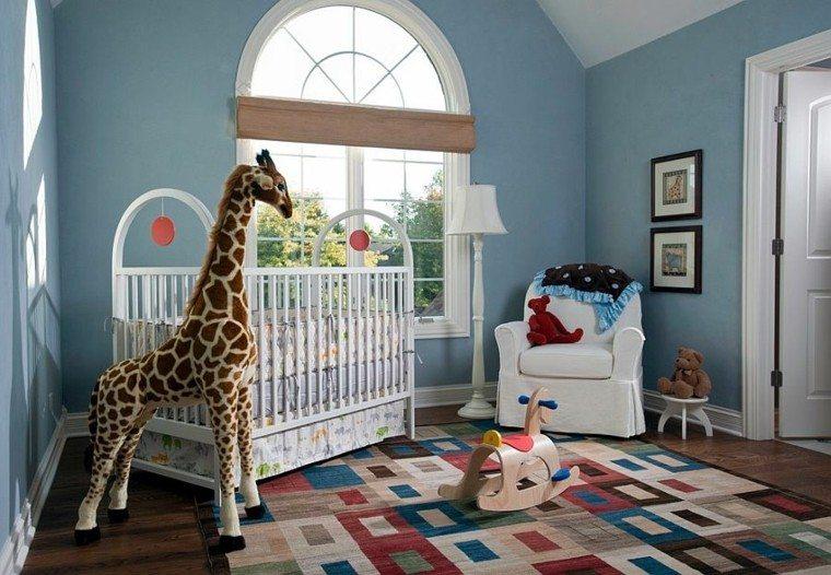 habitacion bebe alfombra colores vibrantes ideas