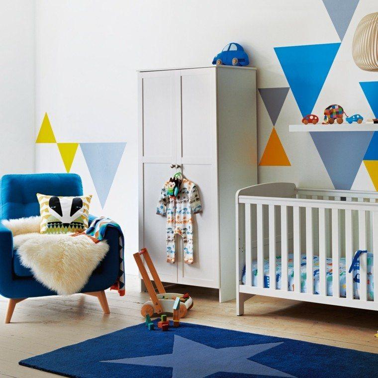 habitacion bebe butaca alfombra azul chico ideas