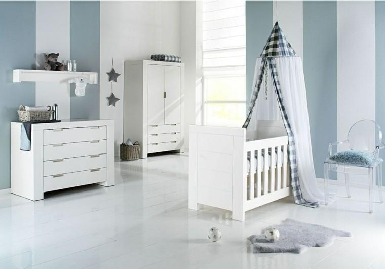 habitacion bebe cama blanca dosel silla transparente ideas