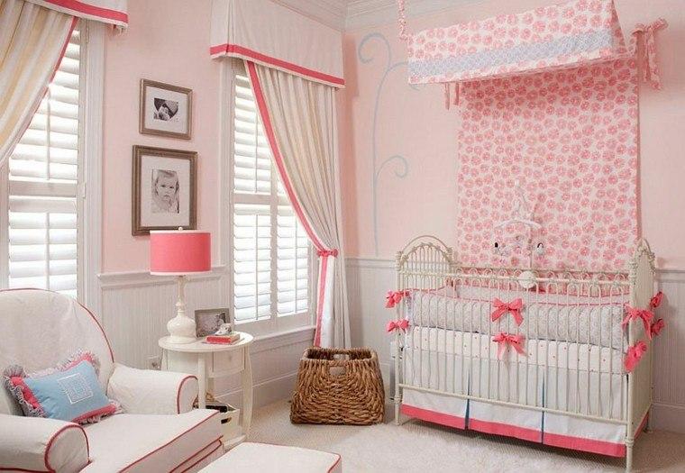 habitacion- bebe cama dosel lazos decorativos ideas