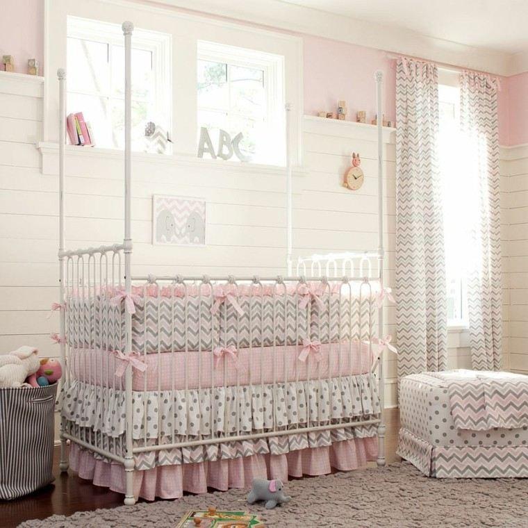 habitacion bebe cama lazos decorativos rosa ideas