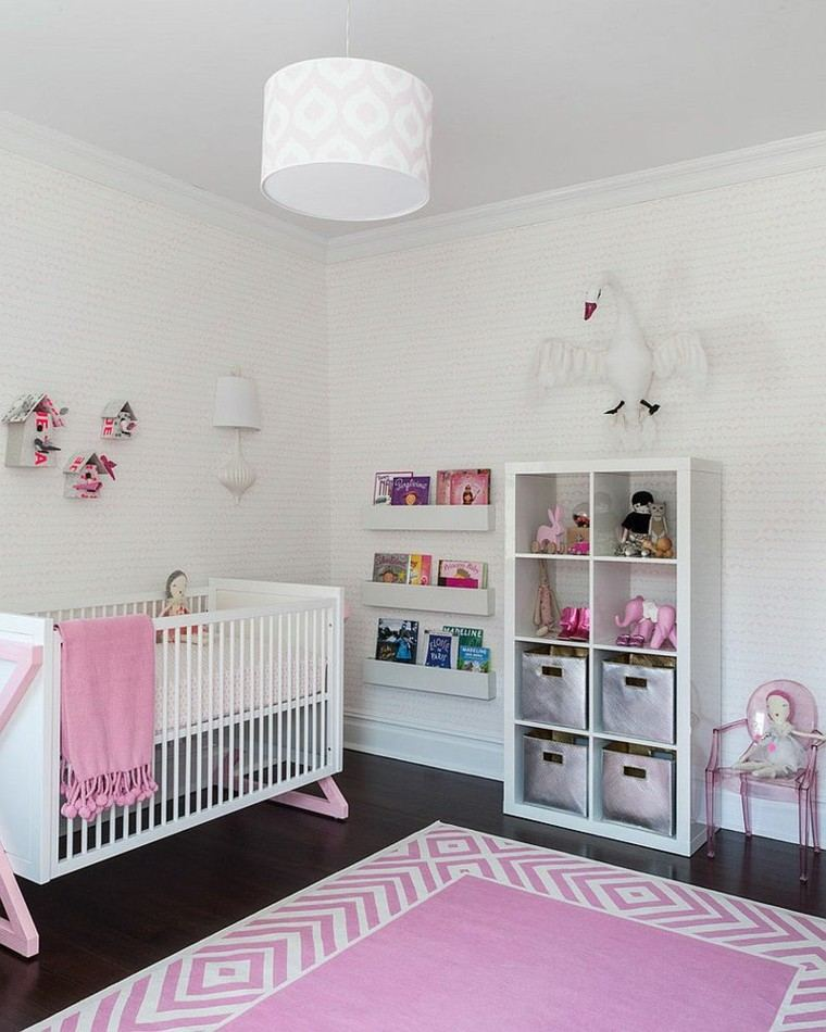 habitacion bebe estilo contemporaneo estanteria blanca ideas