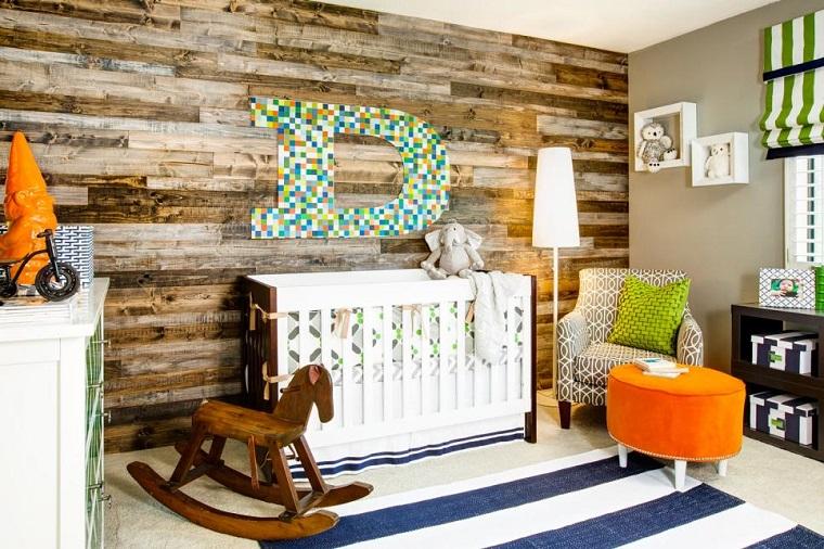habitacion bebe estilo rustico pared madera ideas