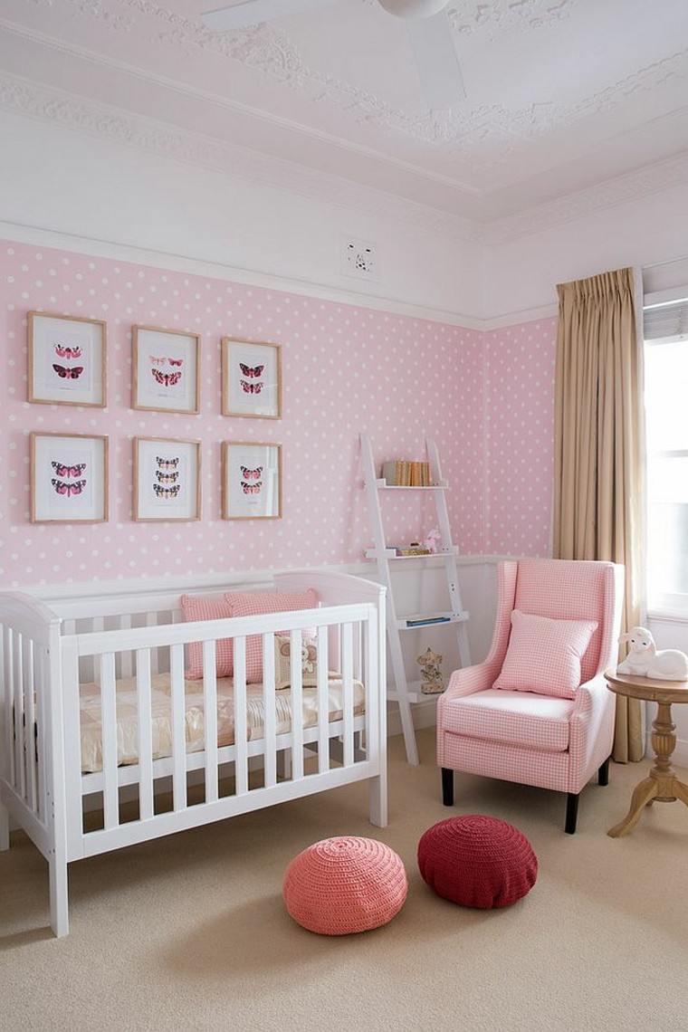 habitacion bebe estilo vintage sillon rosa ideas