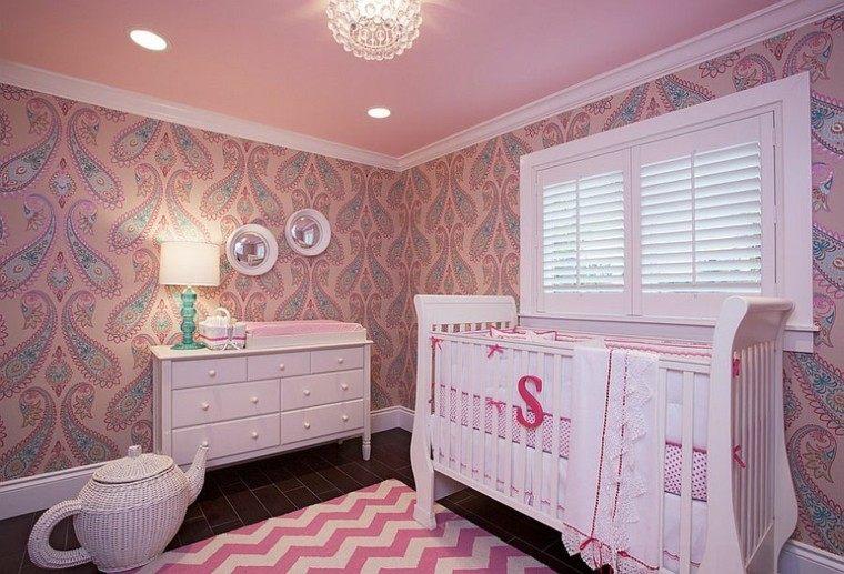habitacion bebe papel pared precioso rosa cuna blanca ideas