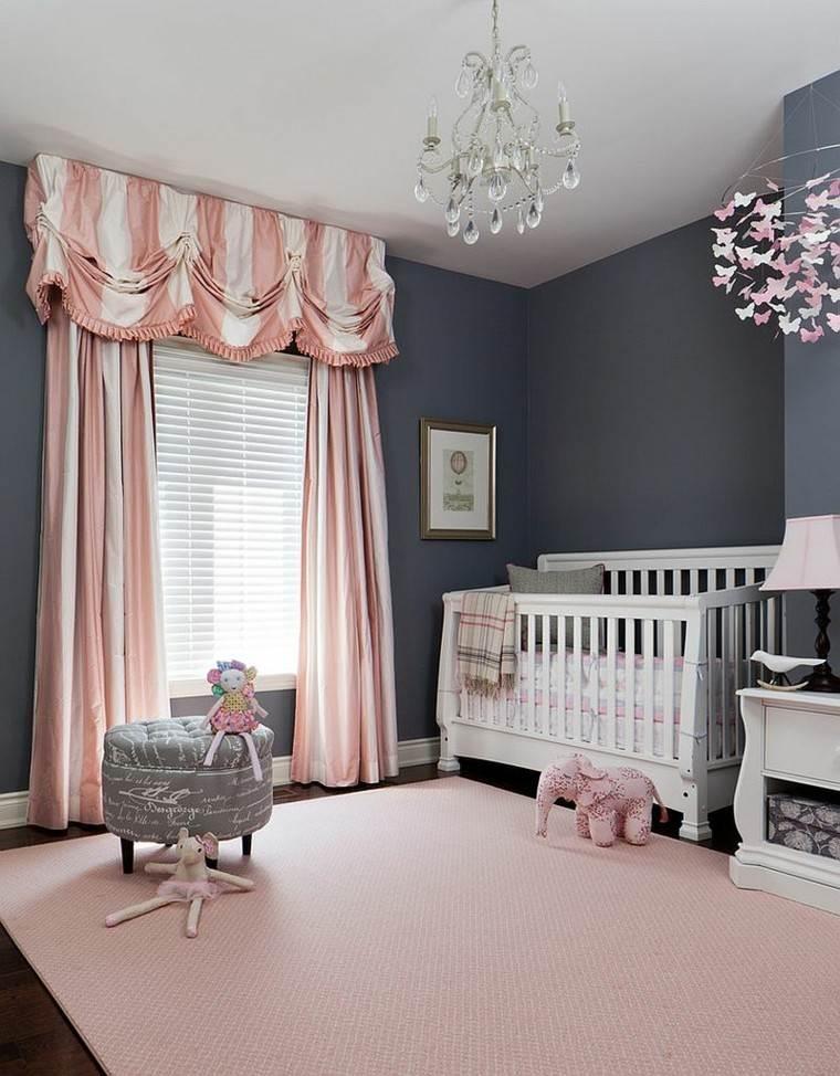 habitacion bebe paredes grises toques rosa decorativos ideas
