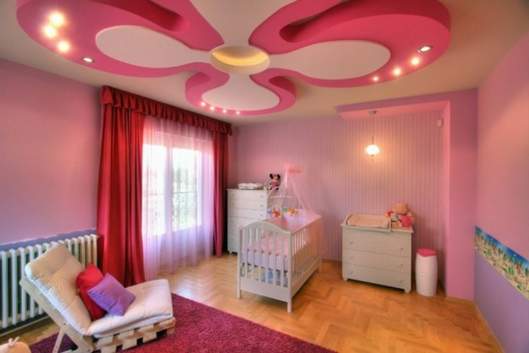 habitacion bebe techo flor luces