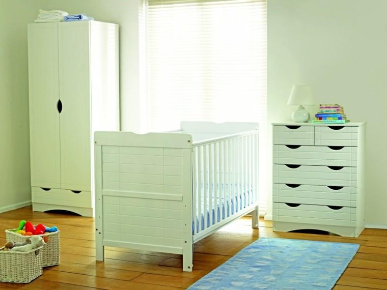 habitacion bebe lineas simples muebles blancos ideas