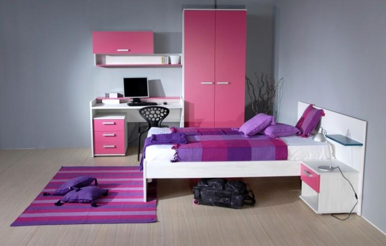 habitacion chica aramrio cama escritorio purpura ideas