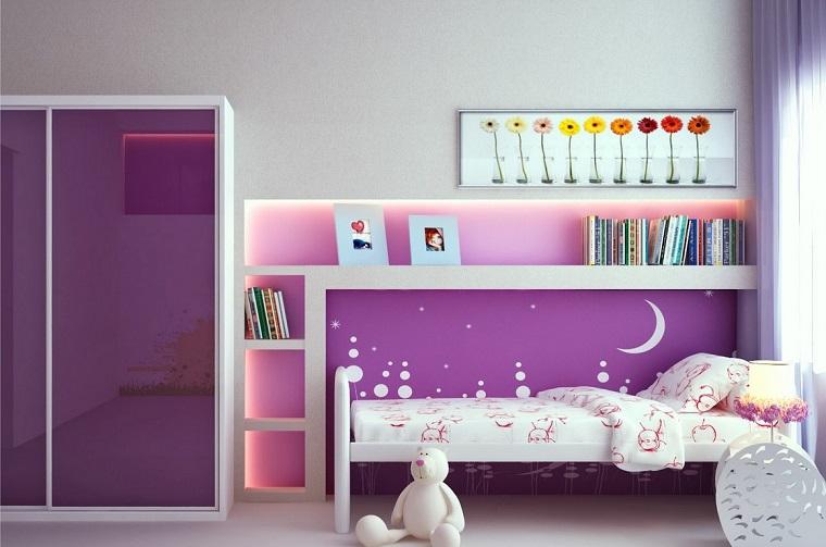 habitacion chica armario purpura puertas brillantes ideas