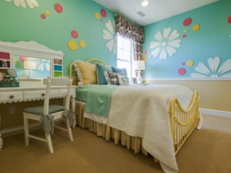 habitacion chica cama acero amarillo pared azul claro ideas