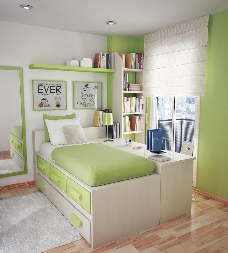 habitacion chica cama armarios espajo grande ideas