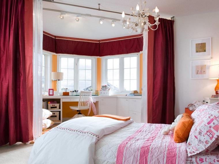 habitacion chica cortinas dividir espacios cama escritorio ideas
