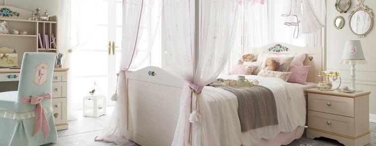 habitacion chica dosel cama colores claros ideas