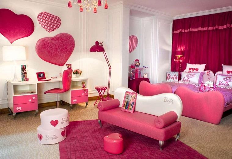 habitacion chica estilo barbie colores rosa ideas