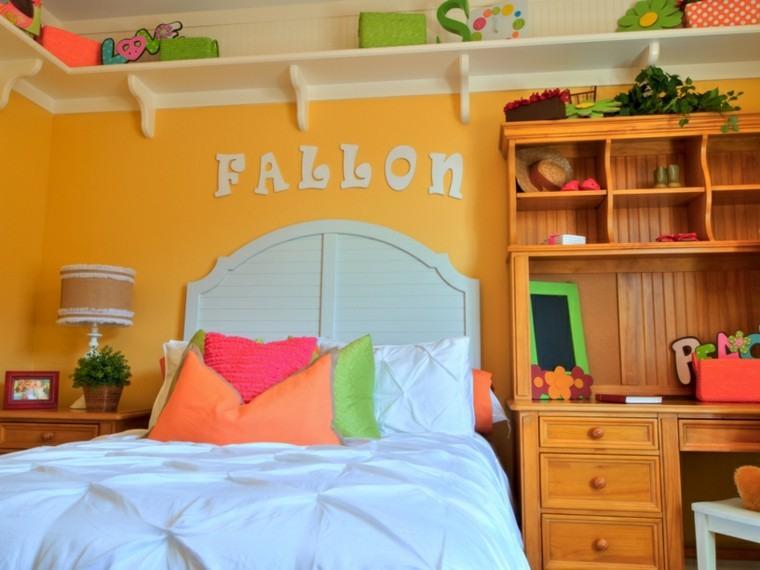 habitacion chica pared amarilla escritorio madera ideas