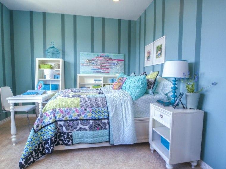 habitación juvenil niña pared rayas azules escritorio elegante ideas