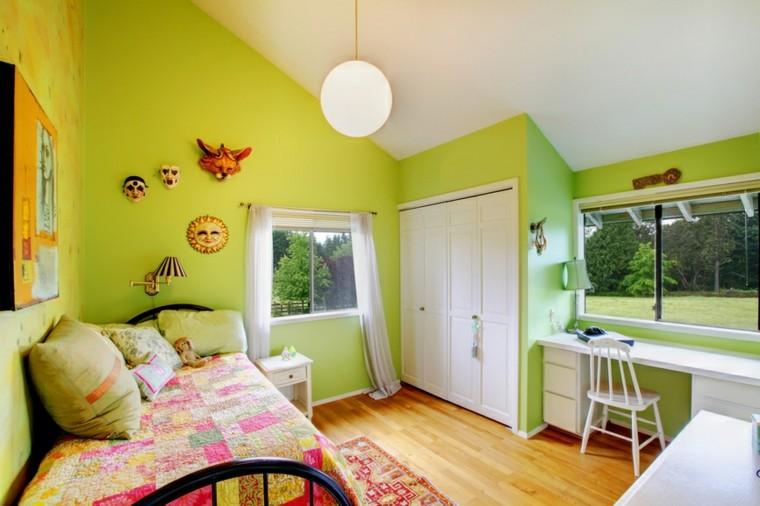 habitacion chica paredes verdes armario pared empotrado ideas