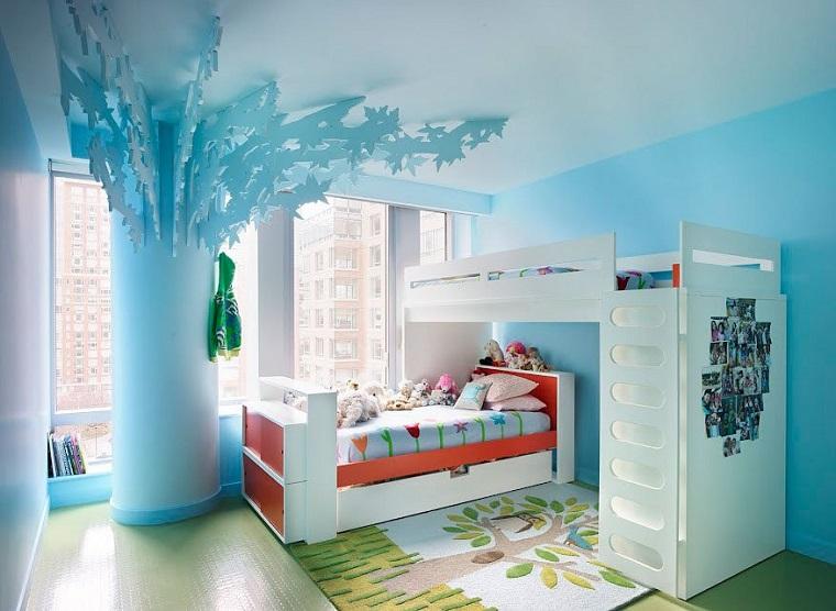 habitacion chicas decoracion columna camas blancas ideas