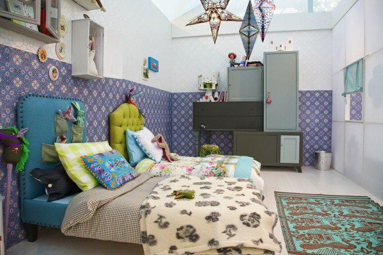 habitacion chicas respaldos cama cuero papel pared precioso ideas
