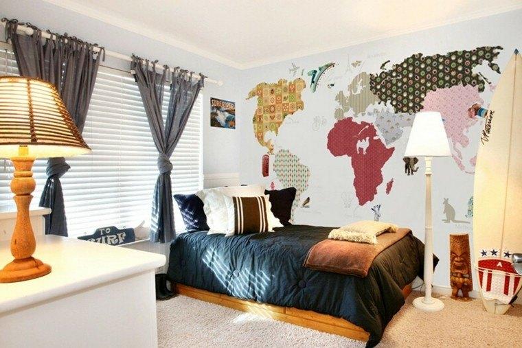 habitacion chico joven pared mapa mundo ideas