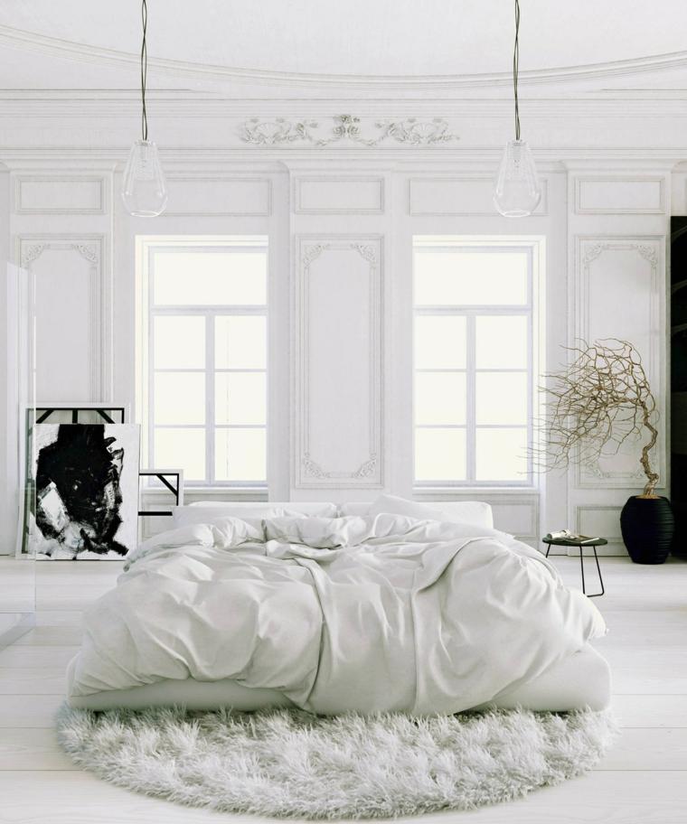 habitacion color blanco alfombra lamnparas ramas