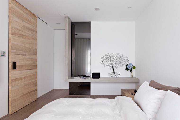 habitacion color blanco closet ramas puertas