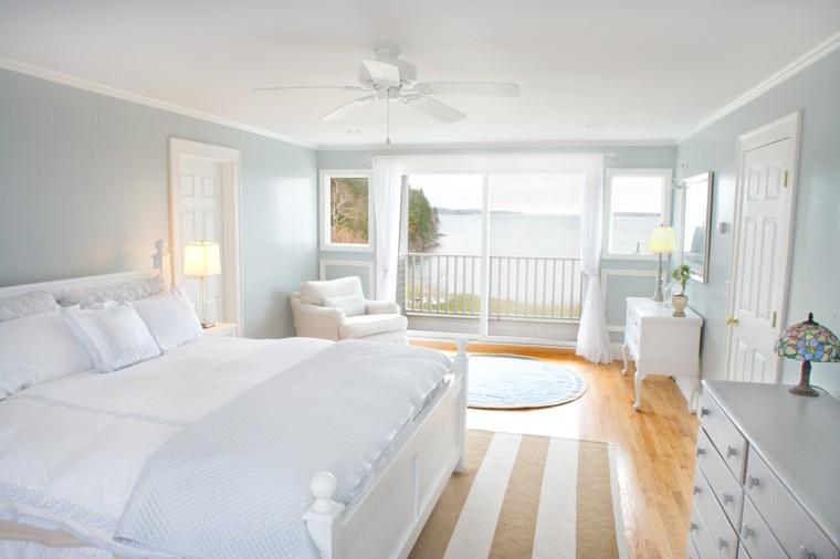 habitacion color blanco fresca ventilador rayas
