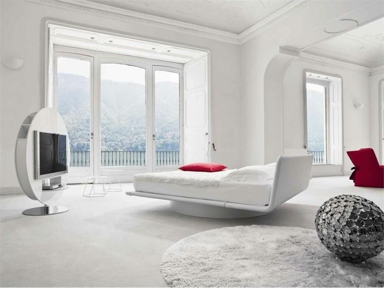 habitacion color blanco moderna television rojo