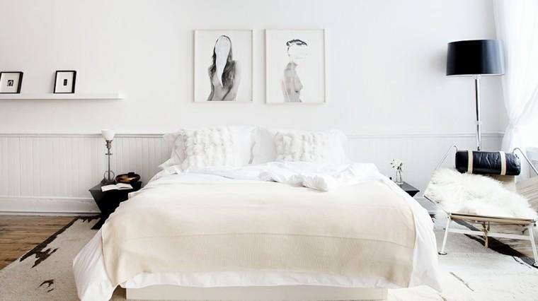 habitacion color blanco negro pieles madera