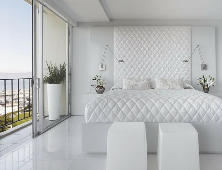 habitacion color blanco plantas moderna balcon