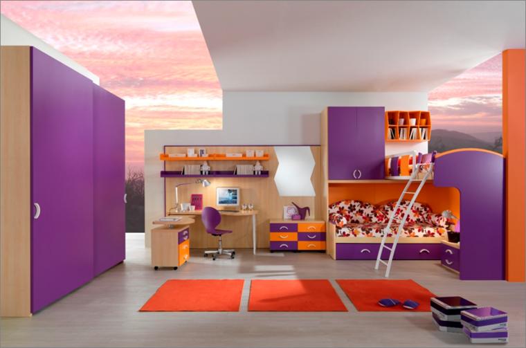 habitacion juvenil chica morada naranja