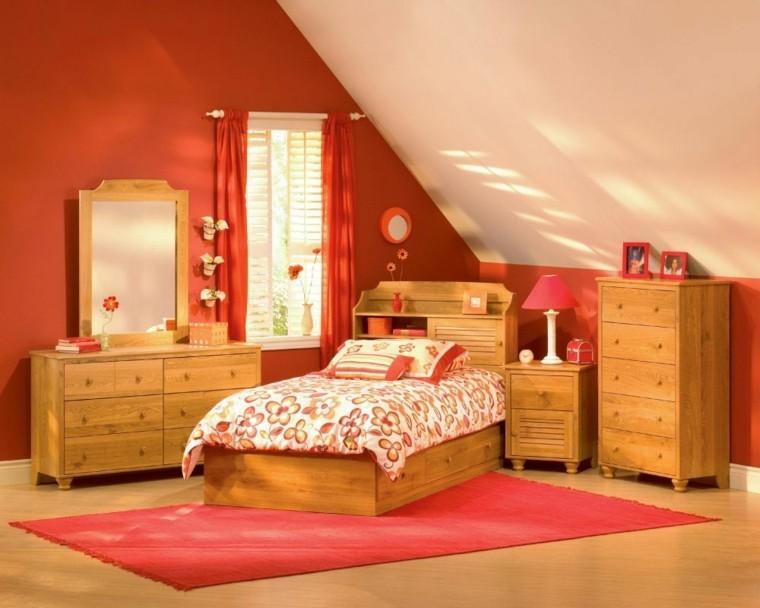 habitacion juvenil chica madera roja