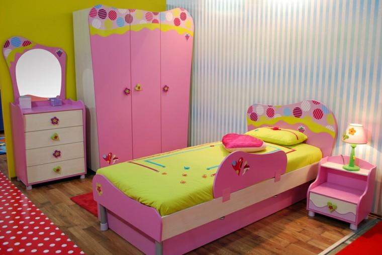 habitación juvenil niña armario cama rosa ideas