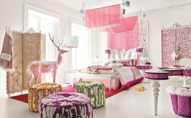 habitación juvenil niña color rosa diseno moderno ideas