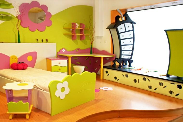 habitación juvenil niña combinacion verde rosa ideas