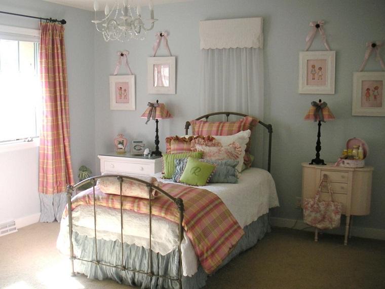 habitación juvenil niña estilo vintage cama acero ideas