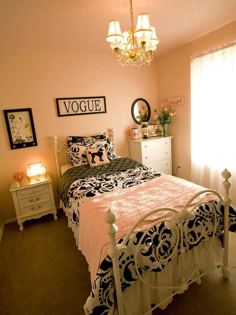 habitación juvenil niña grande cama acero blanco ideas
