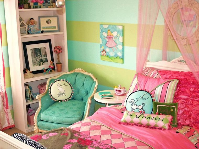 habitación juvenil niña pared verde azul sillon ideas