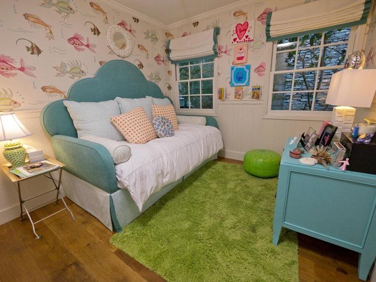 habitación juvenil niña sofacama pared peces ideas