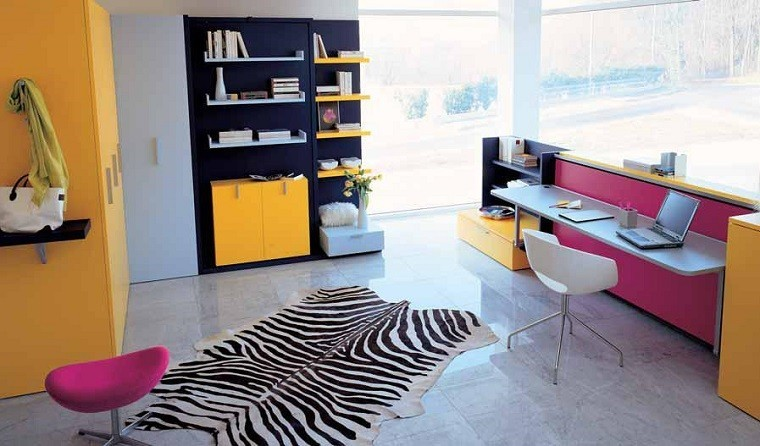 habitacion nina alfombra piel zebra luminosa ideas