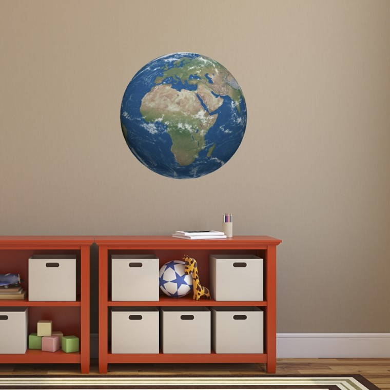 habitacion nino pared beige globo decorativo ideas